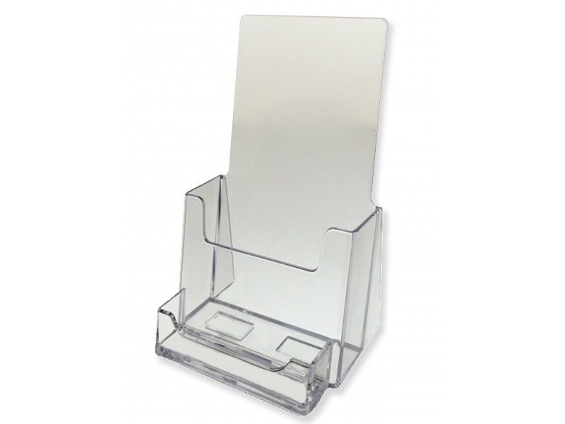 4 Tri Fold Brochure Holder With Attached Card Holder Qty 12 Acrylic Display Brochure Holders Counter Display Trifold Brochure