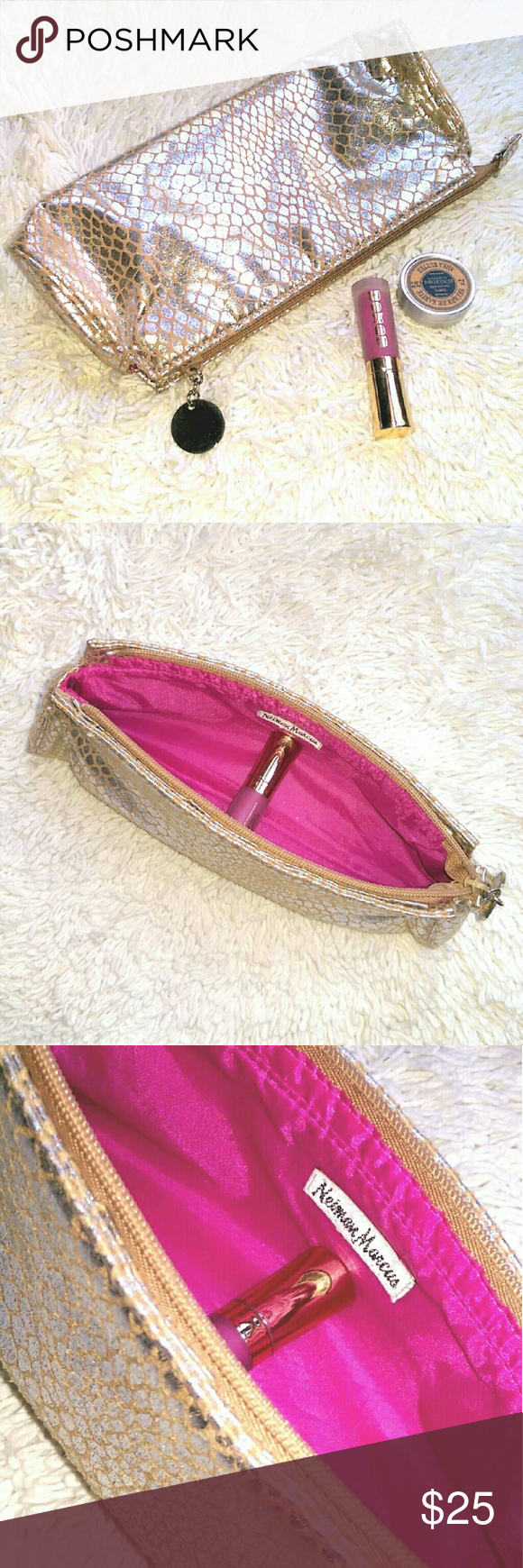 🆕 {Neiman Marcus} clutch / bag Neiman Marcus * Bag - Clutch * Snakeskin Embossed  * Silver & Gold Faux Suede  * Bright Pink Nylon Inner Lining  * Top Zip Closure with Silver Hardware Pull * BRAND NEW - FLAWLESS  * Gorgeous, super soft metallic clutch with a subtle pattern.  Great for date night, a wedding, or any occasion!   * Bags * Small * Pouch * Case * Evening * Special Occasion * Wedding * Reception * Neutral * Party Neiman Marcus Makeup