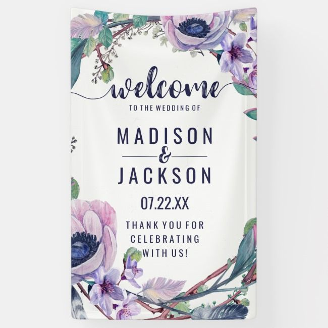 Boho Feather  Floral Wreath Wedding Welcome Banner