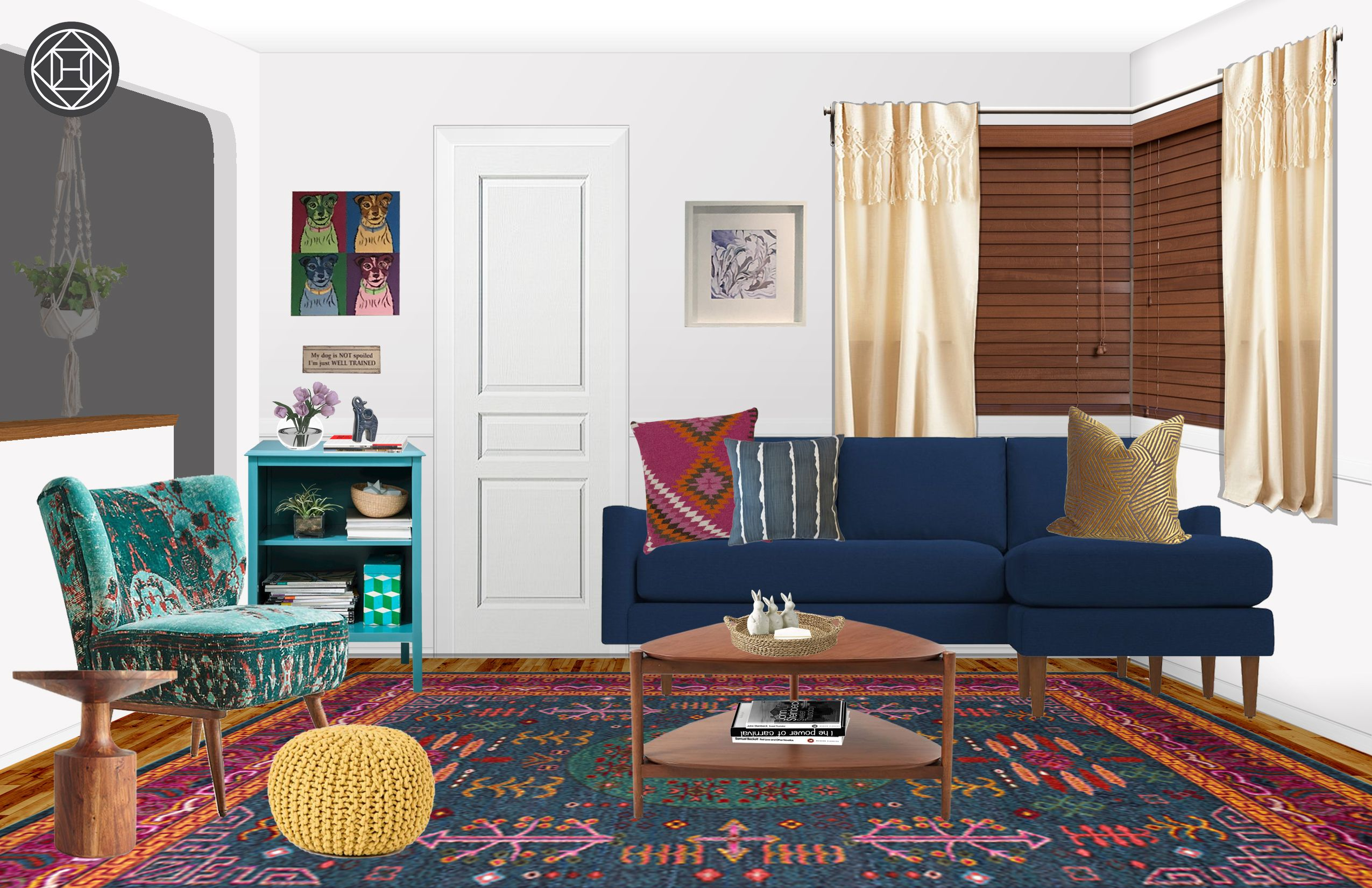 Best Eclectic Bohemian Global Midcentury Modern Living Room 640 x 480