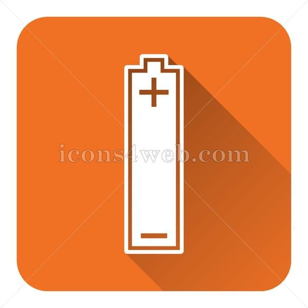 Only 1$. Battery flat icon with long shadow. EPS10 vector icon designed in high resolution. Royalty free vector icon for books, games, marketing, websites, apps, etc... Website icon illustration. #Flaticons #Squareicons #Vectoricons #accumulator #background #banner #bar #battery #button #capacity #charge #charging #design #discharged #electric #electrical #electricity #electronic #empty #energy #eps10 #feeder #full