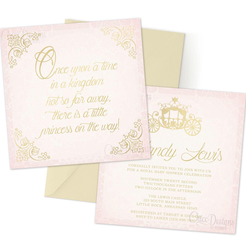 Princess Baby Shower - Gold & Pink - Royal Invitation - Princess ...
