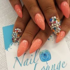 Stiletto nail art ~ Cool Coral & Bling
