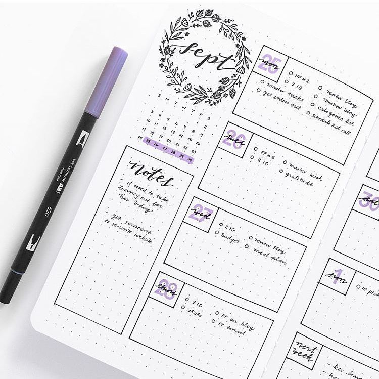 It's just a picture of Remarkable Bullet Journal Weekly Spread Printable