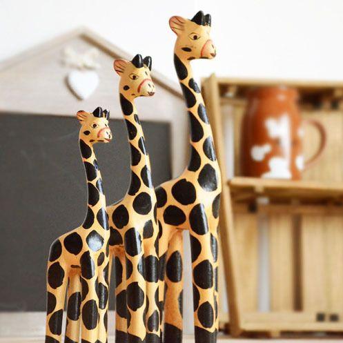 Free Shipping (3pcs/set) Originality Manual Carving Ciraffe Home Furnishing decoration Log Animal Home Furnishing Decoration