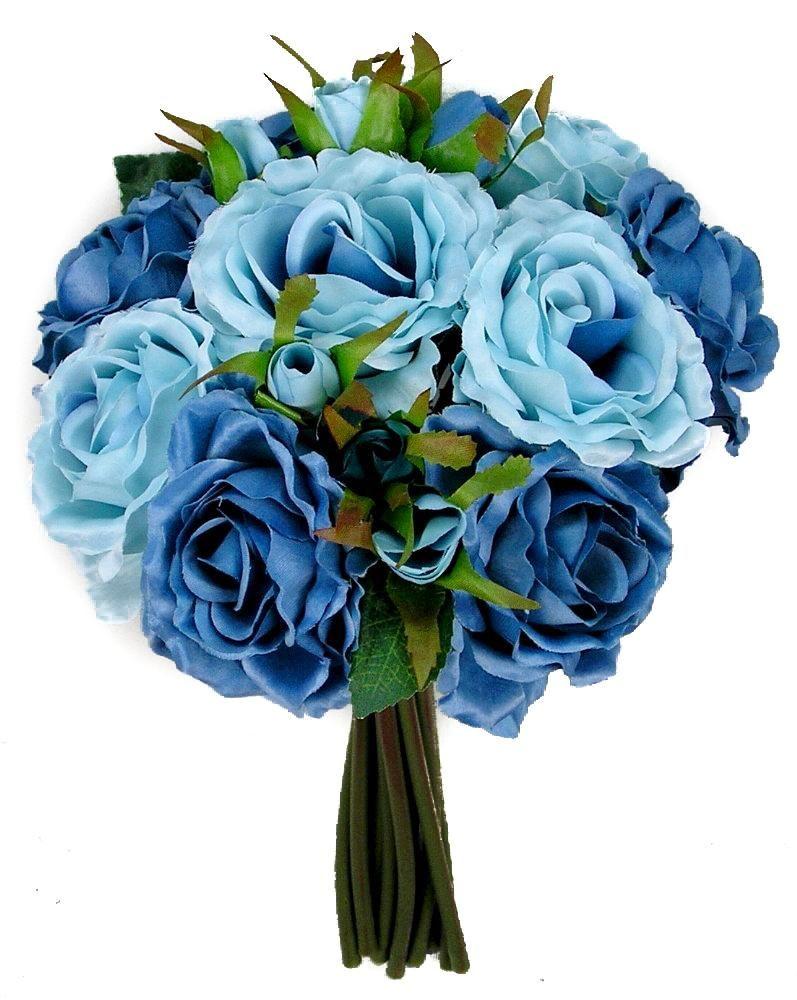 Rose Silk Flower Bouquet Blue Mix Silk Flowers Silk Flowers