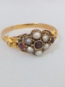 Fine Victorian Garnet & seed Pearl 15k gold ring | eBay