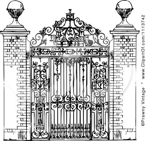 Clipart Vintage Black And White Ornate Wrought Iron Gate Royalty
