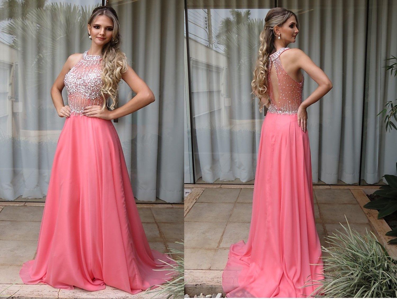 Vestidos para formatura longo rosa