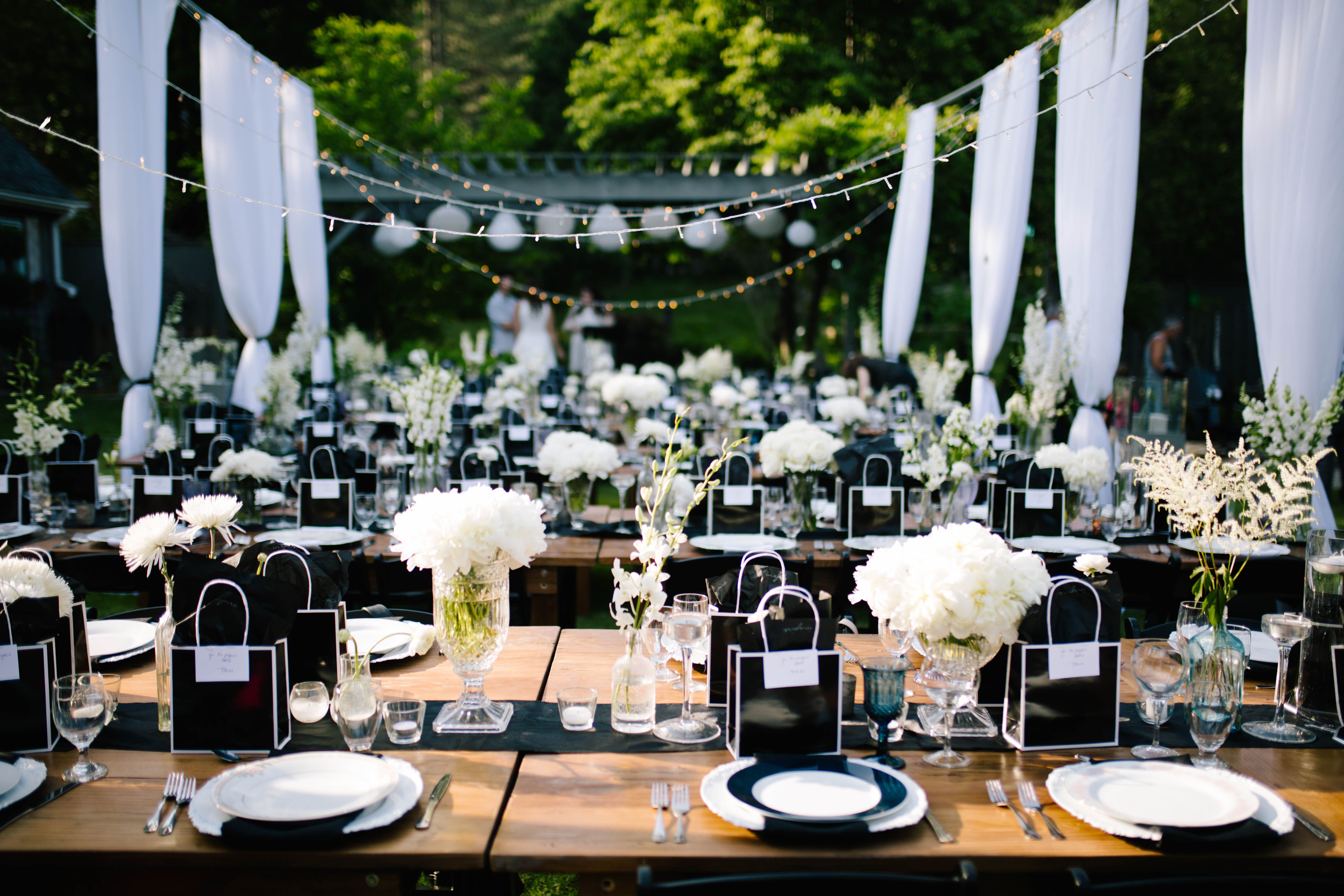 Outdoor wedding party. Simple and Elegant decorations ... on Black And White Backyard Decor  id=87123