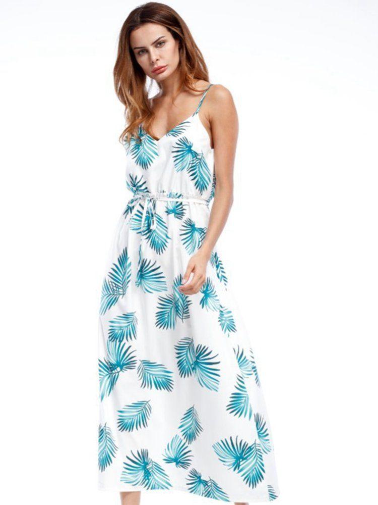 6b6933c168a8 Bohemian Leaves Print Backless Tie Cami V-neck Women Maxi Dress ...
