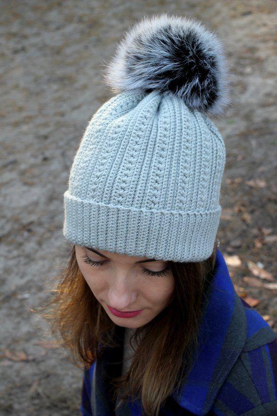 1a298b48a238db Womens knit hat grey wool Pom pom beanie Winter handknit merino wool hat  Crochet snowboard beanie Gr