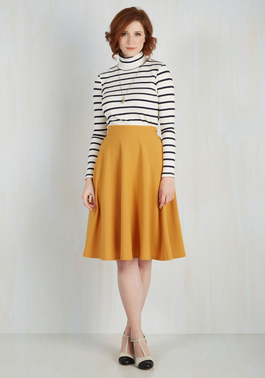 9d62fba28 Bugle Joy Skirt in Mustard. You hear your friends truck horn outside your  window - your trumpet call to scoot this A-line skirt out the door and hop  in!