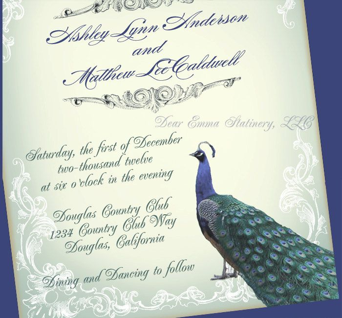 Great Gatsby Peacock Wedding Invitation And RSVP Set By Dearemma 100