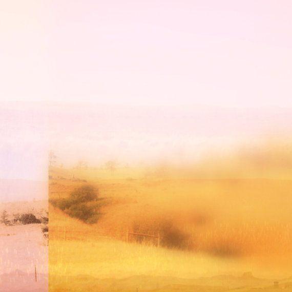 Large Wall Art, Pink and Yellow Minimalist Desert Landscape, Modern ...