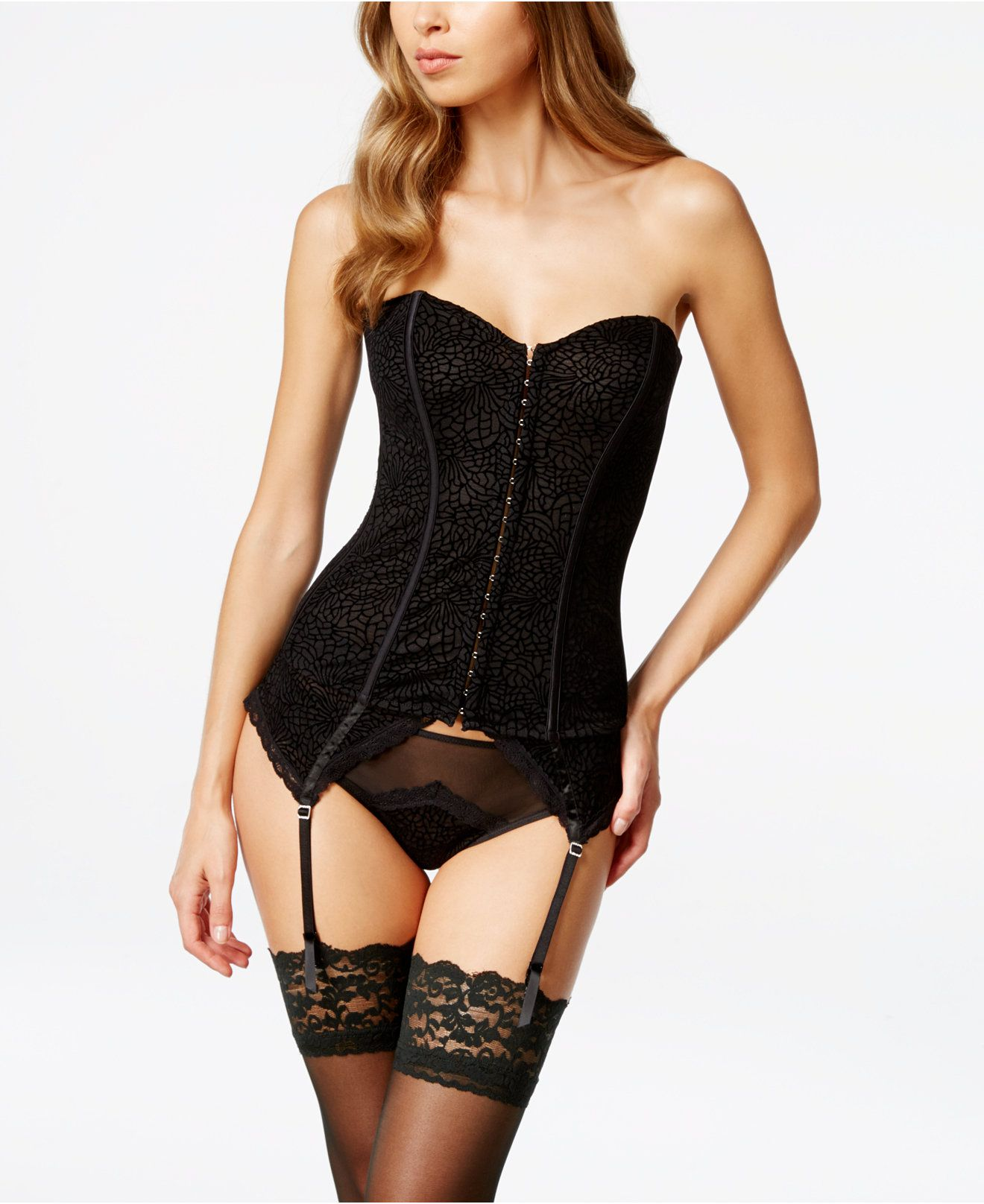 24ed86a5228e9 Maidenform Super Sexy Flocked Mesh Corset and Thong - Sexy Lingerie - Women  - Macy s