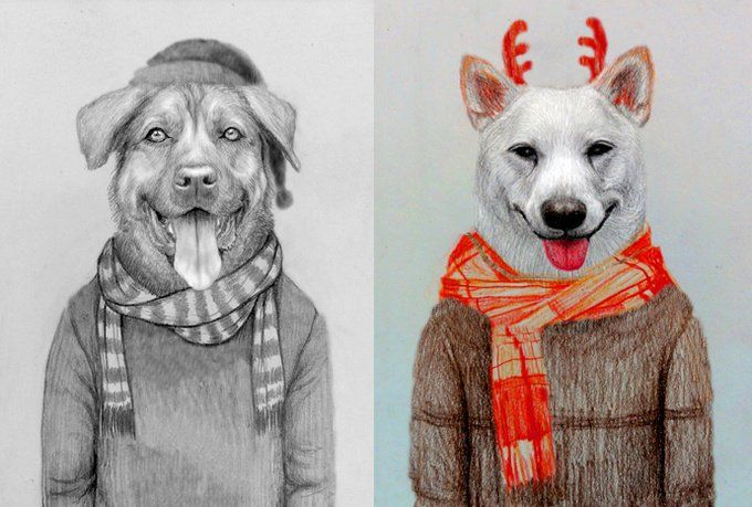 draw fun pet animal portrait for Christmas