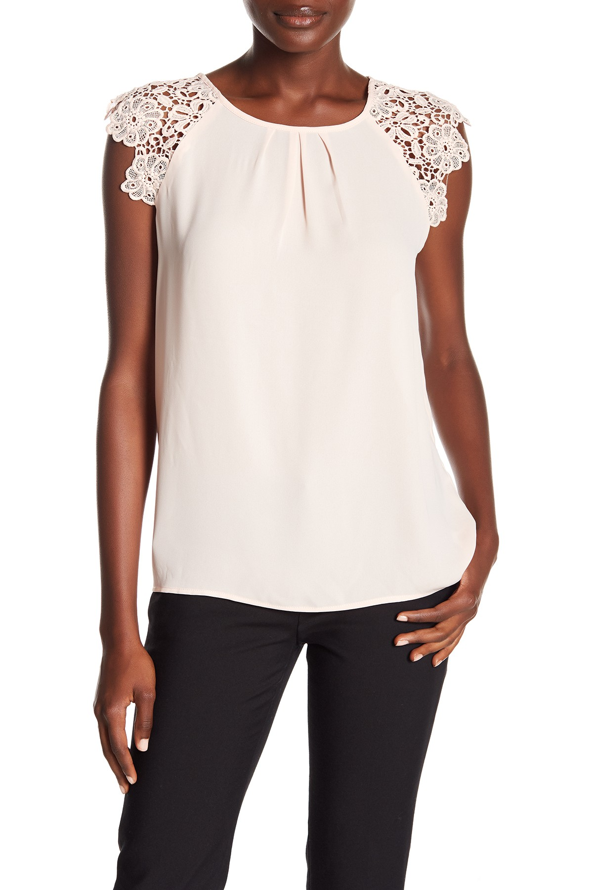 Pleated Lace Cap Sleeve Blouse In 2018 2018 Fall Womens Wtw