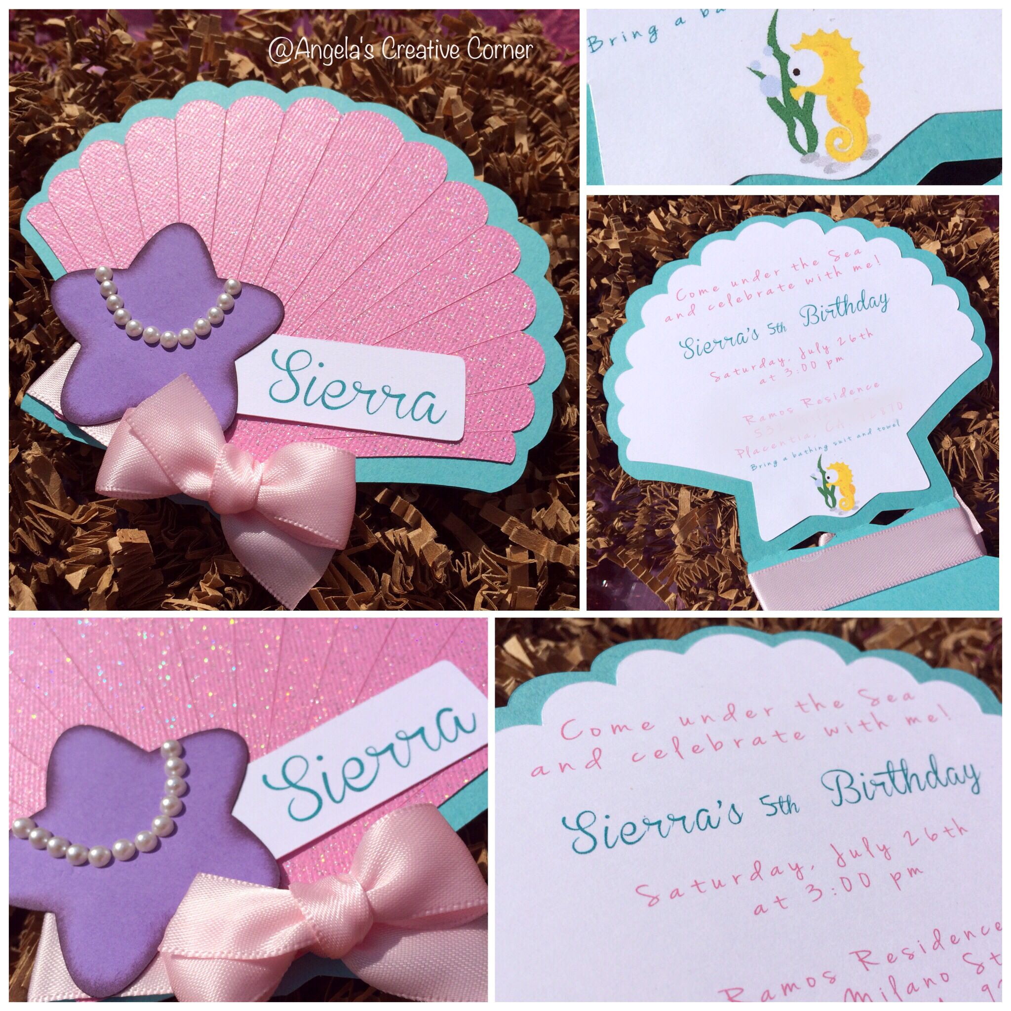 Seashell Birthday Invitations Invitations Pinterest