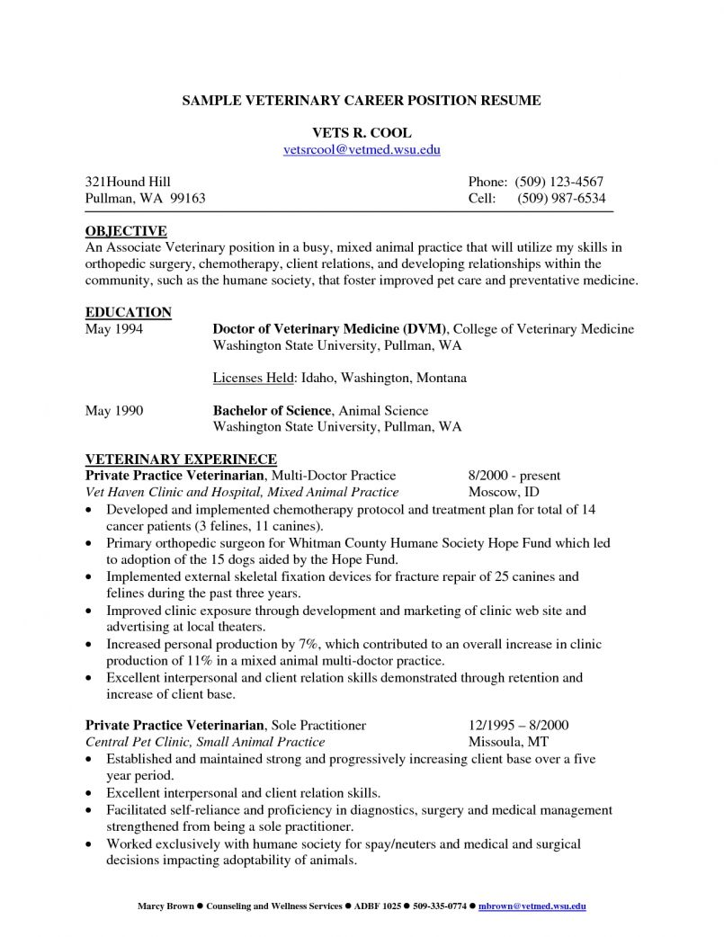Cv Template Veterinary Student Resume Examples Student Resume Medical Resume Template