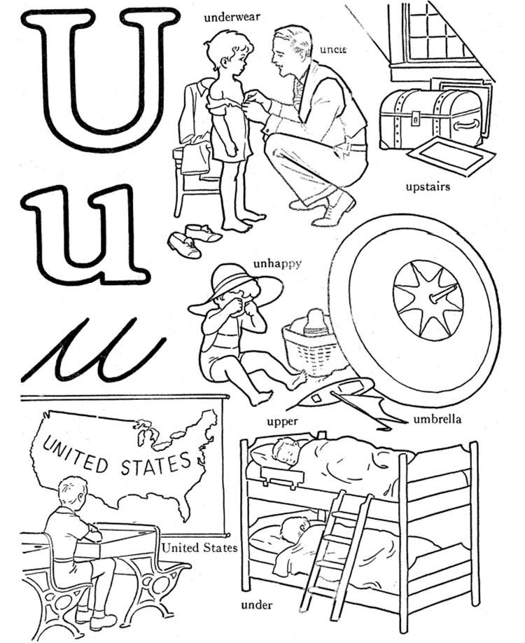 U Words Alphabet Coloring Pages Free Alphabet coloring