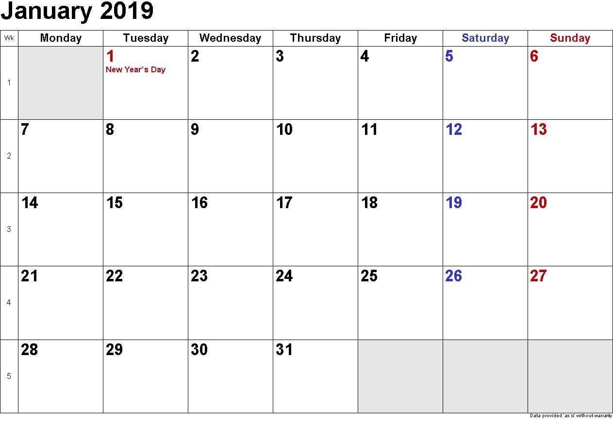 Print Free January 2019 Calendar Januarycalendar2019