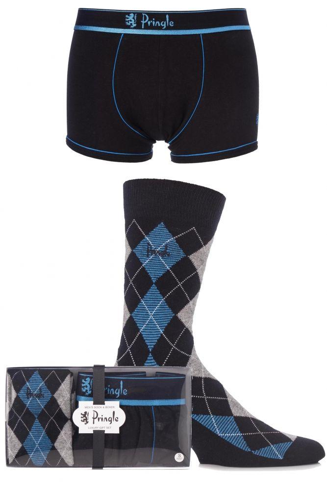 72e867da5d60 Mens 2 Pack Pringle Gift Boxed Plain Boxer Shorts and Argyle Socks ...