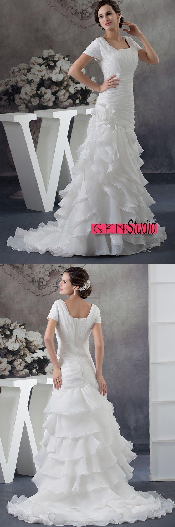 Only wedding dresses modest square neckline short sleeves