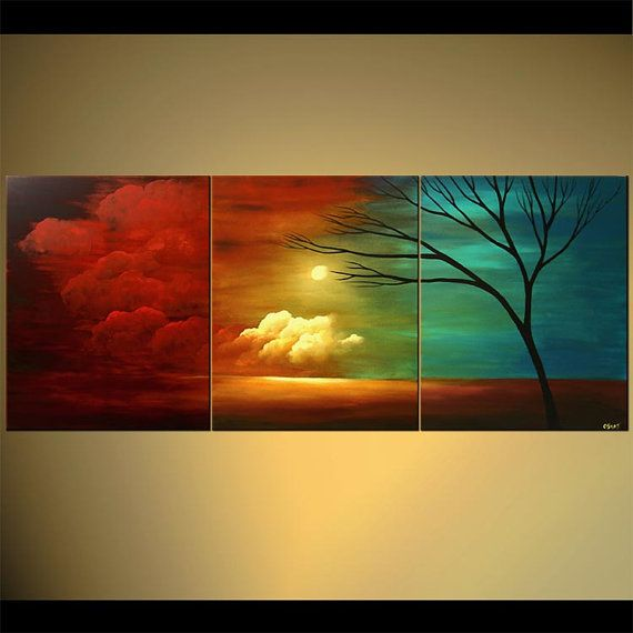 """Landscape Abstract Contemporary Acrylic Painting by Osnat - MADE-TO-ORDER - 72""""x30"""" on Etsy, $749.00"""