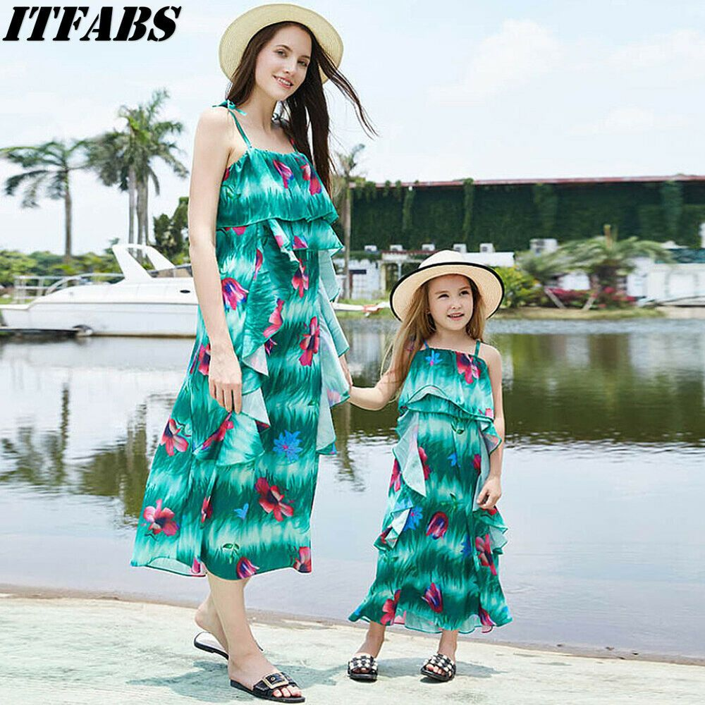 373960e28dd1 US Family Dress Mother and Daughter Matching Floral Women Girl Long Maxi  Dresses #affilink