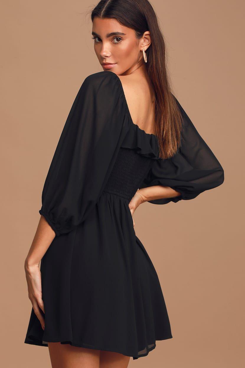 Love Potion Black Smocked Three Quarter Sleeve Mini Dress Mini Dress With Sleeves Black Dress With Sleeves Mini Dress [ 1245 x 830 Pixel ]
