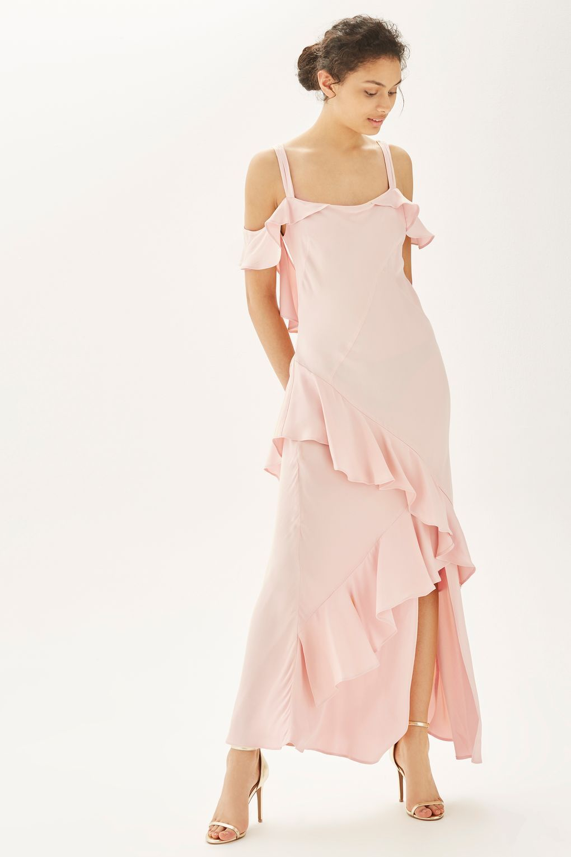 Soft Ruffle Cold Shoulder Maxi Dress Bridesmaid Dresses Clothing Topshop Europe Womens Bridesmaid Dresses Pink Evening Gowns Cold Shoulder Maxi Dress [ 1530 x 1020 Pixel ]