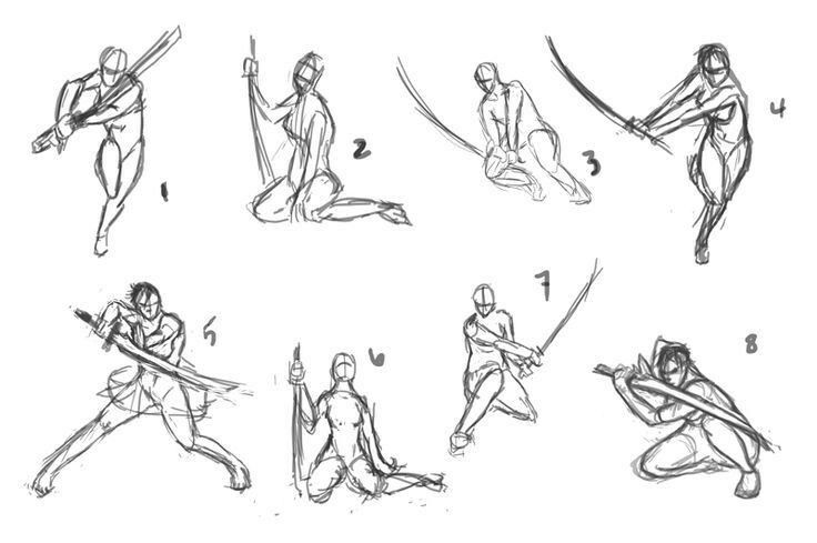 Sword Wielding Poses Sword Poses Fighting Poses Art Reference