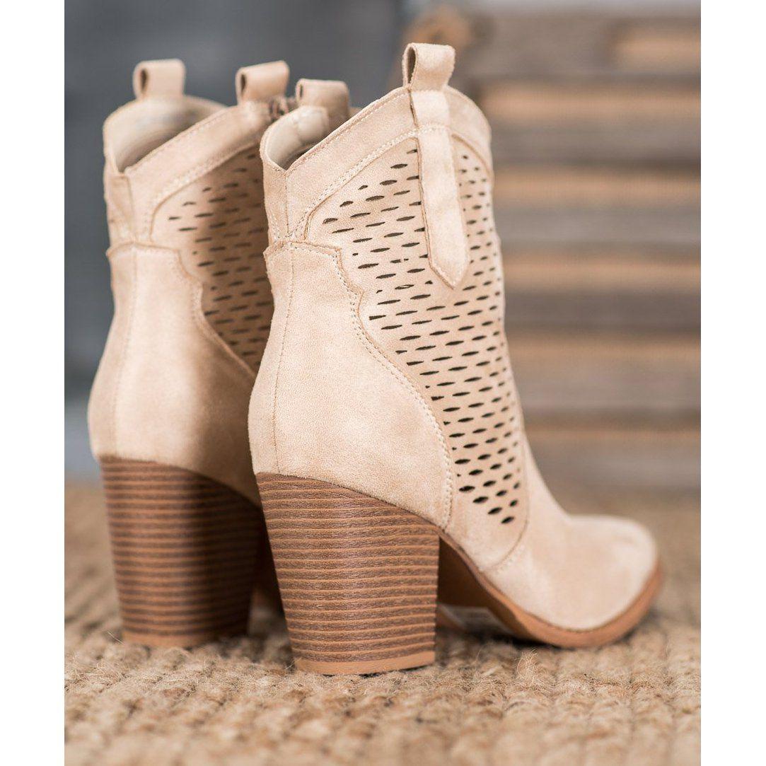 Seastar Azurowe Kowbojki Na Slupku Bezowy Ankle Boot Shoes Boots