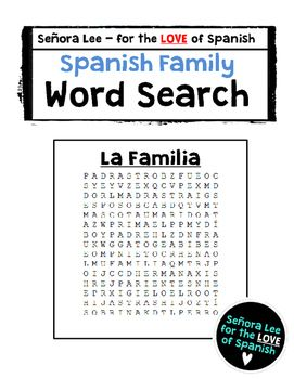 Spanish Family Word Search Define And Find  Family Members Hidden In A Challenging Puzzle