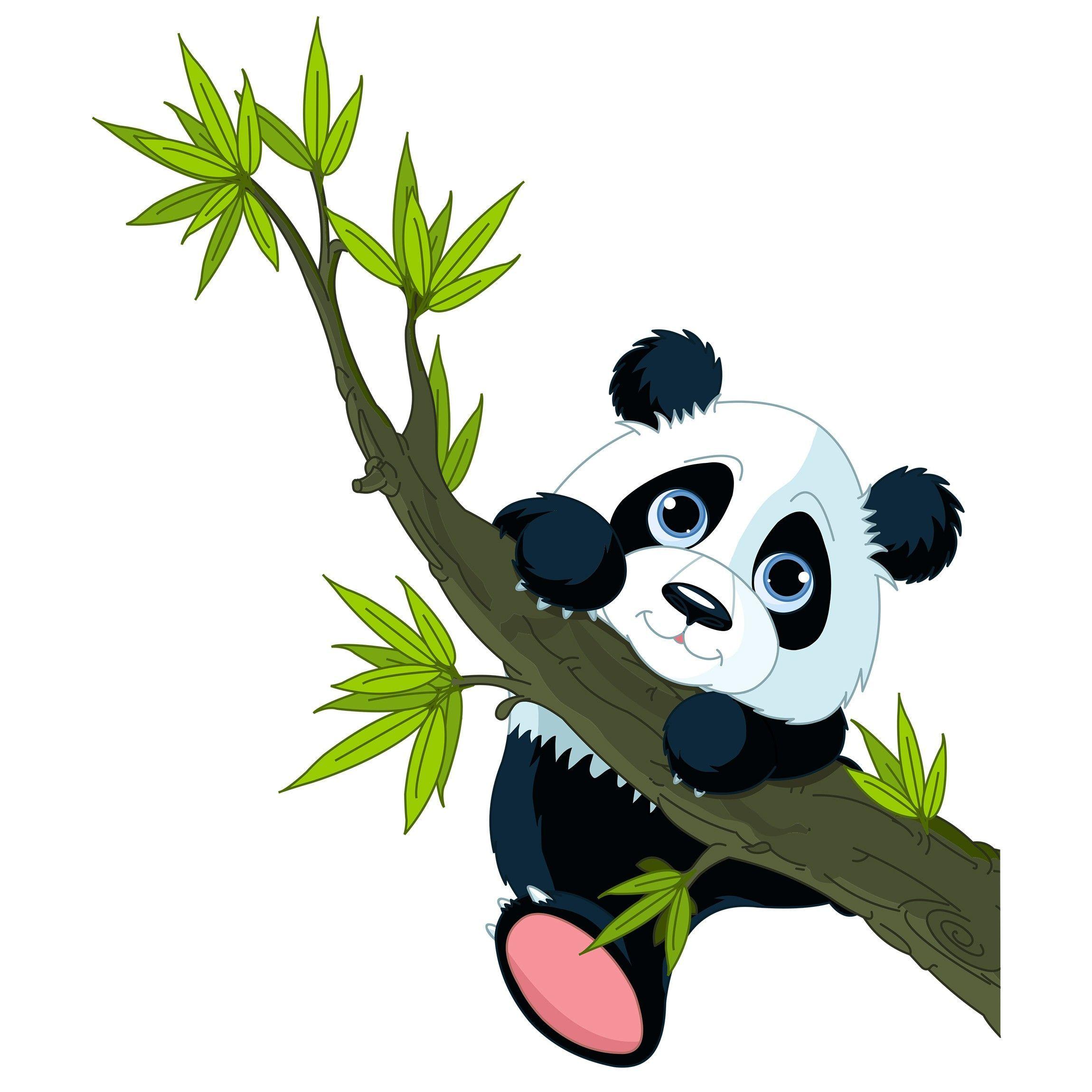 Wandtattoo Kletternder Panda Gambar Hewan Gambar Hewan Lucu Binatang
