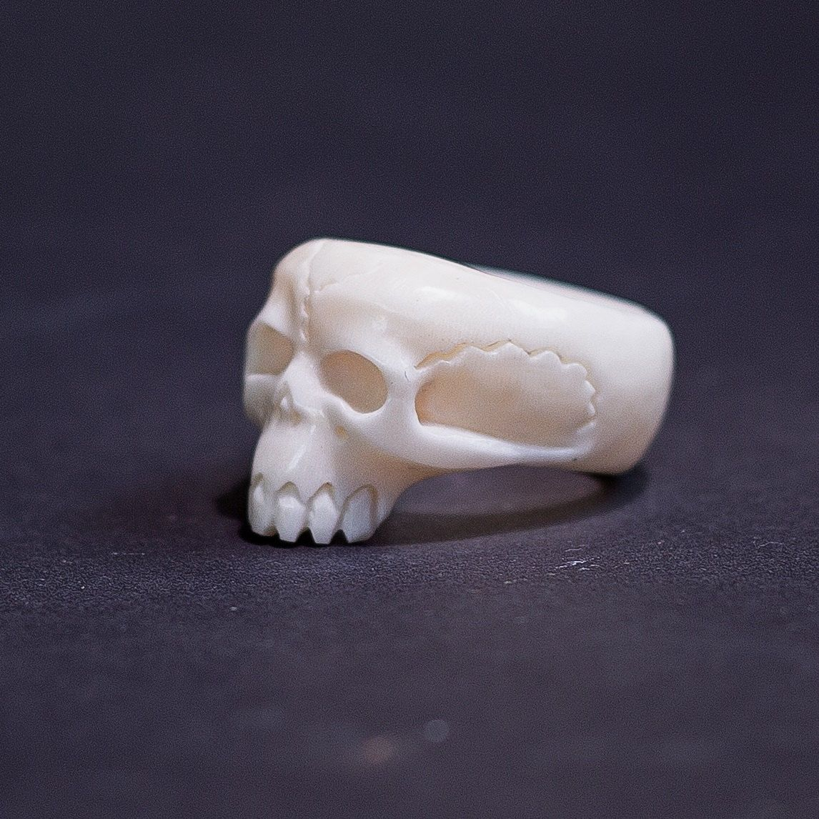 Human Skull Ring Carved Bone Ring Gothic Jewelry Buffalo Bone Carving Cool Mens Rings Taxidermy Cool Rings For Men Bone Ring Gothic Jewelry Rings