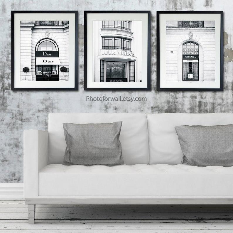 Hedendaags Louis Vuitton print mode kunst aan de muur, set van 3 Louis TS-22