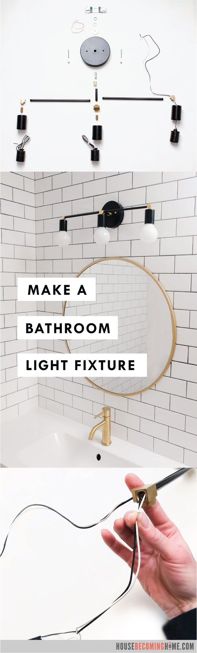 Photo of How to Make a Modern Bathroom Light Fixture – House Becoming Home