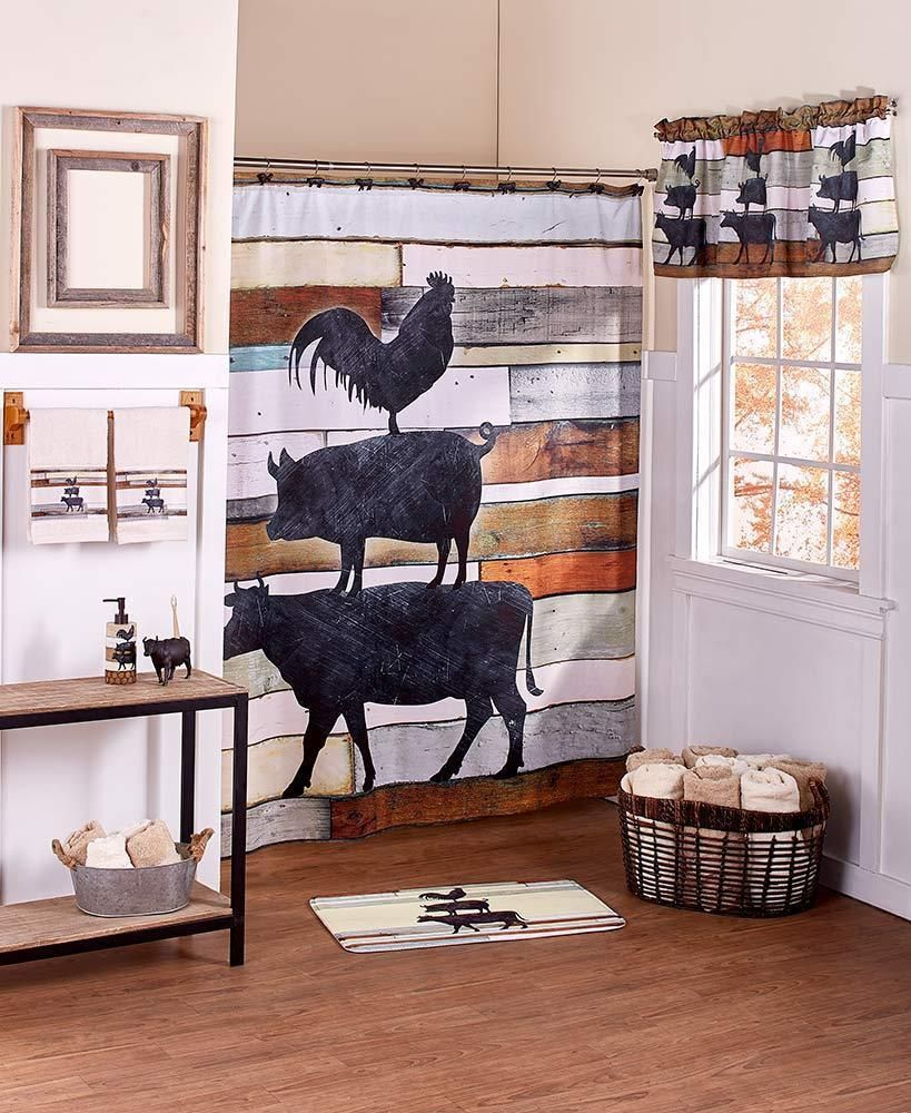 Farmhouse Stacked Barn Animals Bath Shower Curtain Rug Soap Pump