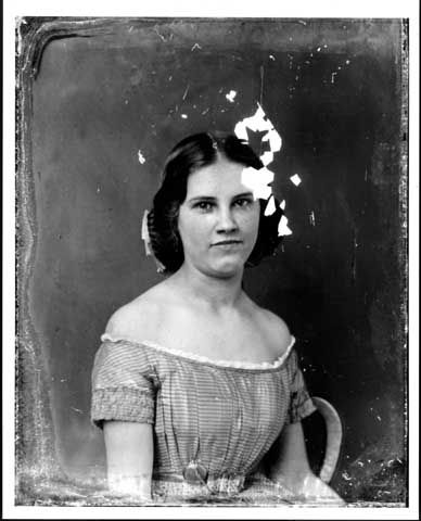 1860 Minnesota Historical Society. Teen with lovely dress. Notice shirring on sleeve, belt and watch