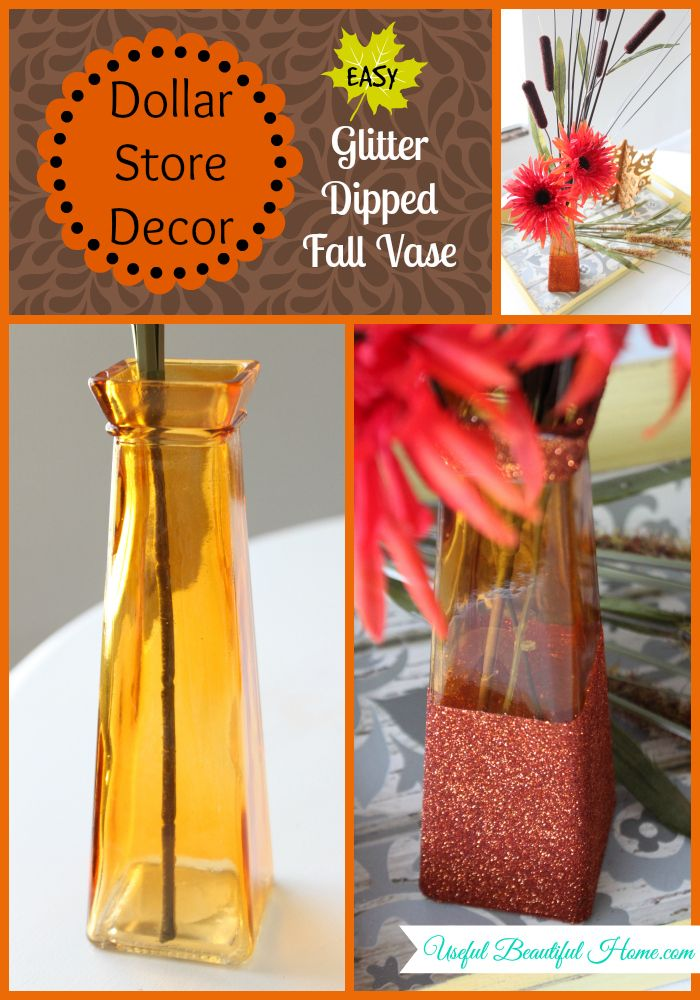Easy Glitter Dipped Fall Vase Great Ideas For Turning