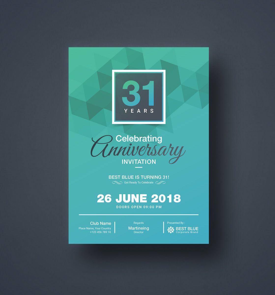Zeus Elegant Anniversary Invitation Template  Anniversary