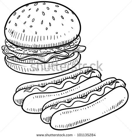 doodle style hamburger and hot dog with bun and condiments sketch in vector format by lhf