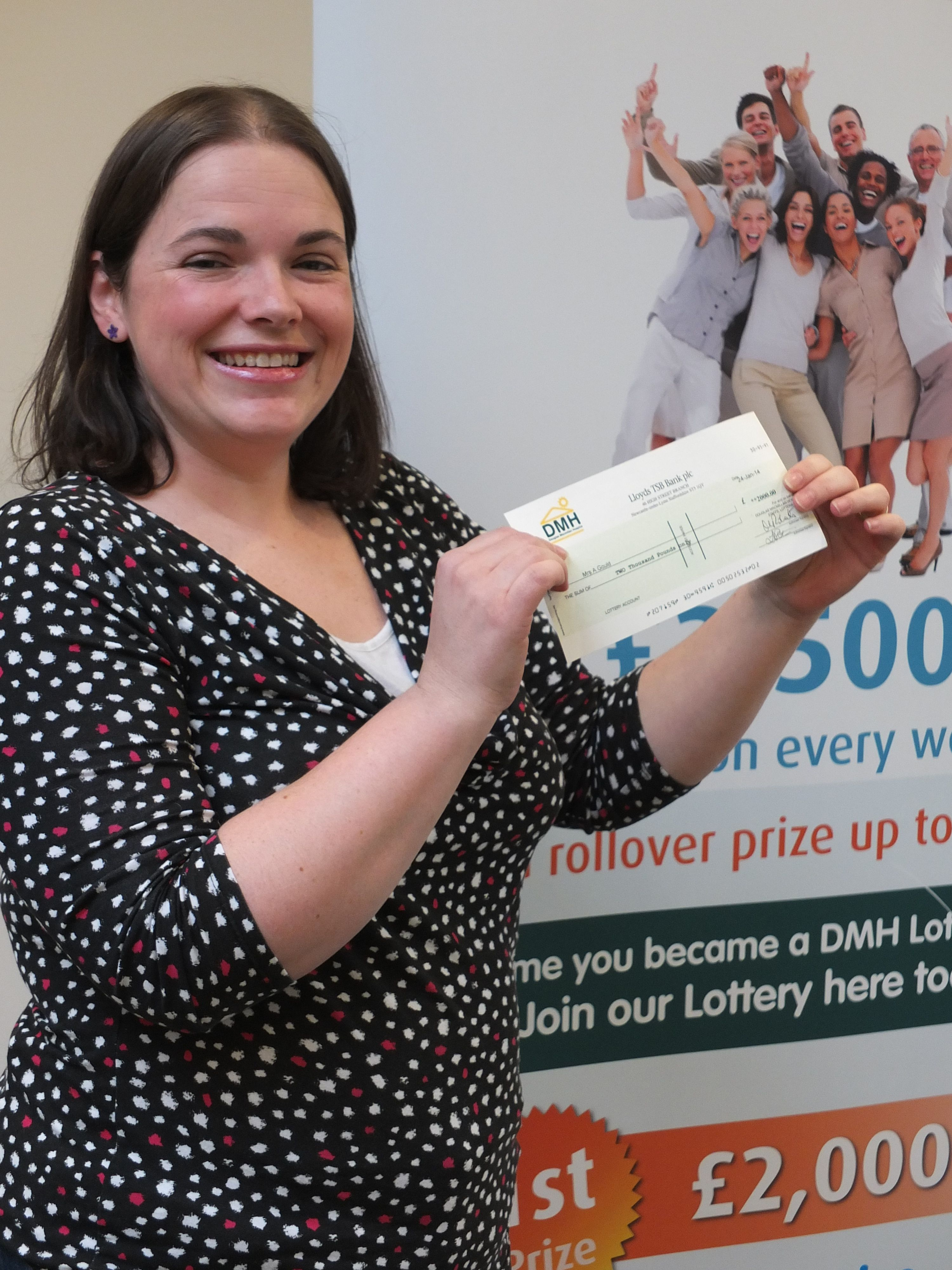 Here's Amanda Gould who scooped the £2000 top prize in our weekly draw recently   Find out more about the DMH Lottery here - http://www.dmhospice.org.uk/get-involved/lottery