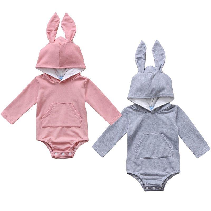 Newborn Baby Girls Infant Boy Romper Hooded Jumpsuit Bodysuit Bunny Ears Outfits