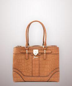 ORIGINAL DAMEN GUESS Leder Tasche Henkel Tasche Beige