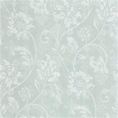 Aqua floral scroll wallpaper