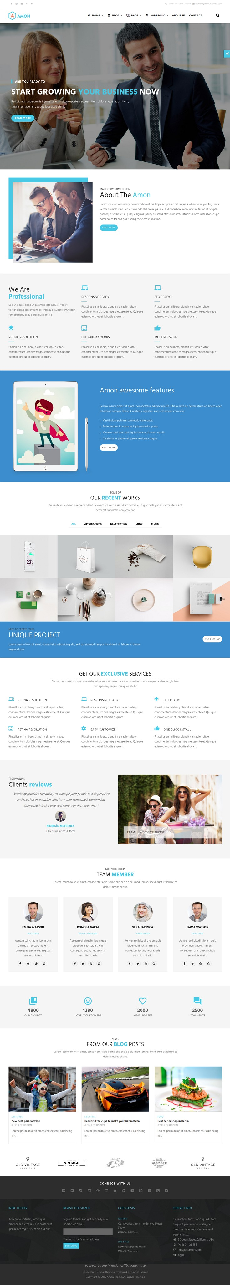 Amon Theme Is Modern And Professional Responsive Drupal Theme For Business Portfolio Agency An Many More Kinds Of Websites Download Templates Drupal Business Web Design
