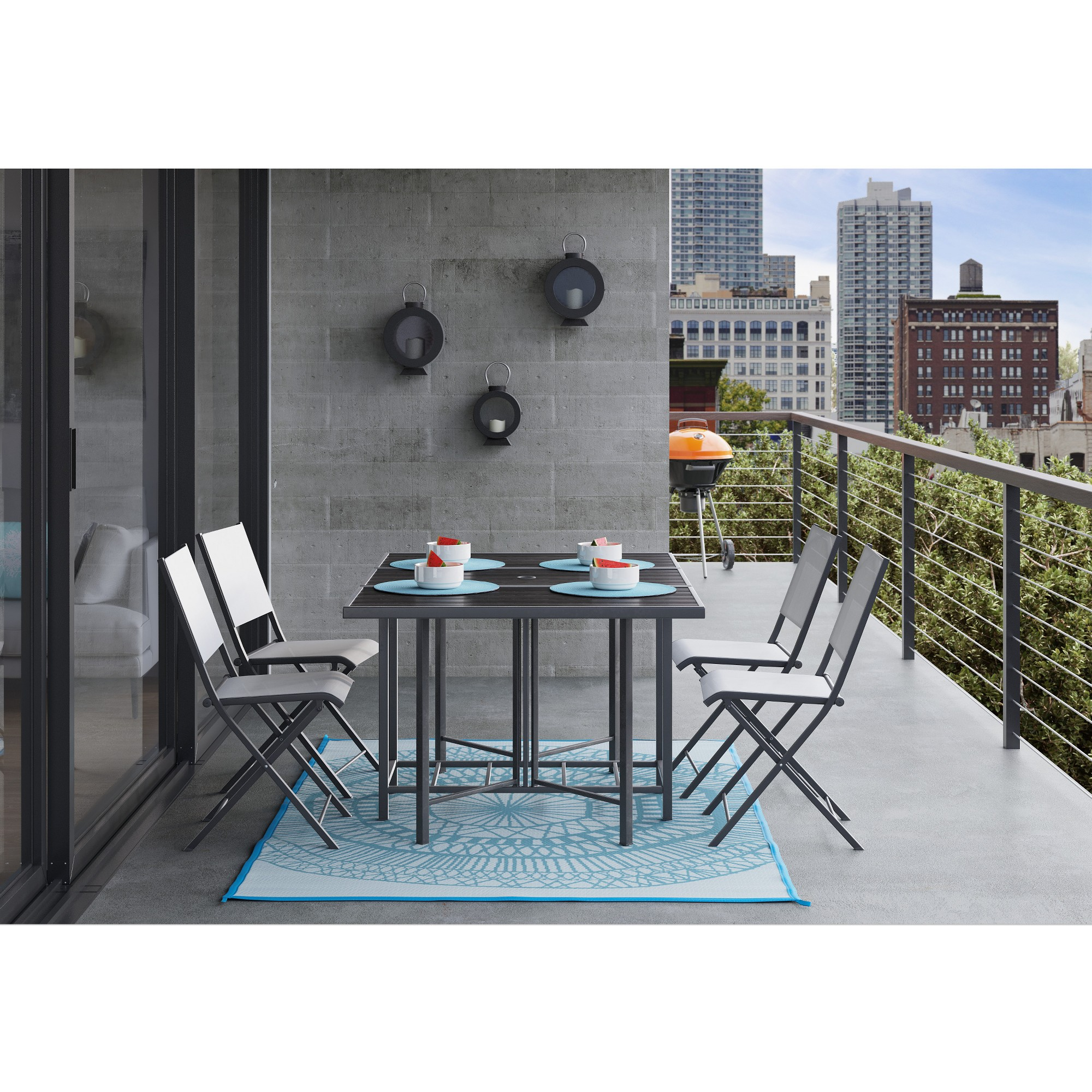 Bryant 5pc outdoor stowable patio dining set black